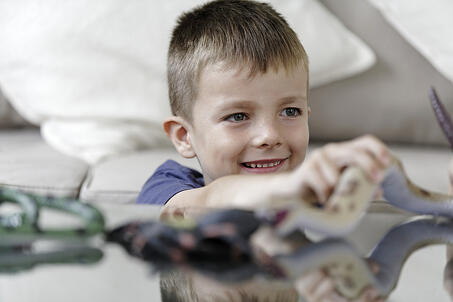 Young boy playing with his plastic animals at home-1